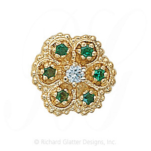 GS080 D/E - 14 Karat Gold Slide with Diamond center and Emerald accents